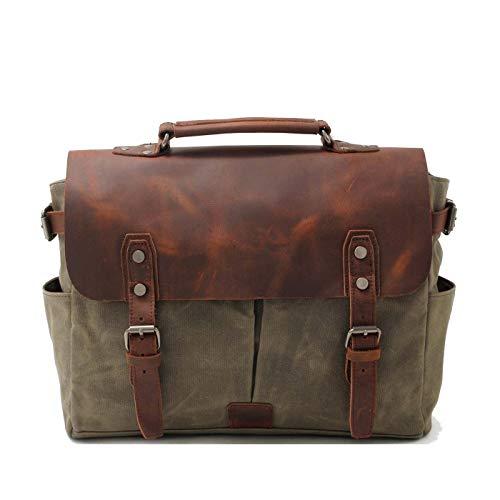 VZVABAG Messenger Bag Motorrad Tasche Wasserdicht Canvas Leder Vintage Laptoptasche Umhängetasche Handtasche Damen Herren (green)