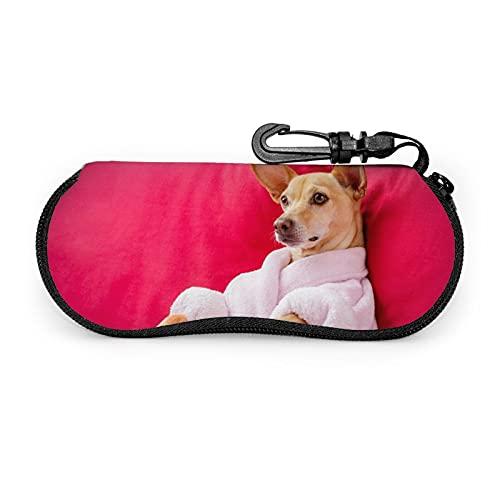 Chihuahua Dog Glasses Case Portable Zipper Eyeglasses Sunglasses Case