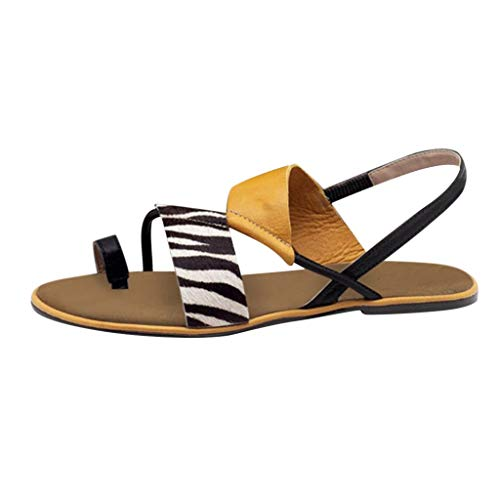 ELECTRI Sandales Femme Plates Été Bohème Sandales Confortables Chaussures pour Plage Vacances