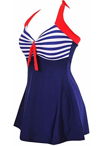 AMAGGIGO Damen Badeanzug mit Rock und Punkten, Einteiler Gr. 46-48, blau gestreift