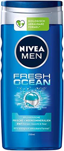 NIVEA MEN Fresh Ocean Pflegedusche (250 ml), Duschgel mit Meeresmineralien und ozeanfrischem Duft, erfrischende Dusche für Körper, Gesicht und Haar