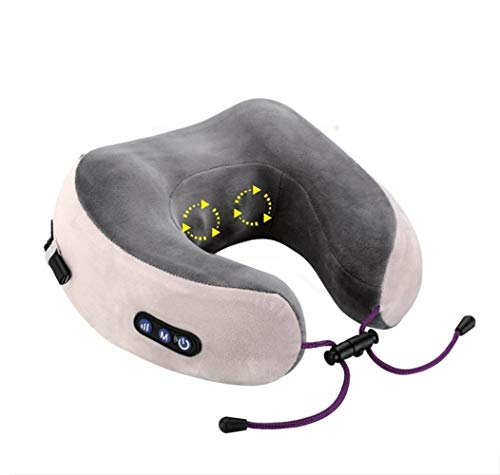 MAEE Neck Massager, U-Shaped Pillow Massagers for Neck and Back, Multi-Function Shiatsu Neck Massager for Outdoor Portable Car Care (Color : Rechargeable 2 Heads)