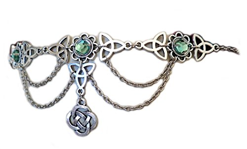 Moon Maiden Jewelry Celtic Triquetra Trinity Knot Draping Chain Headpiece Light Green