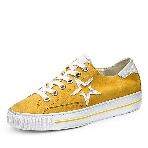 Paul Green Damen Sneaker 4810, Frauen Low-Top Sneaker, schnürschuh sportschuh Plateau-Sohle weibliche Ladies feminin Women,Mango/White,40 EU / 6.5 UK