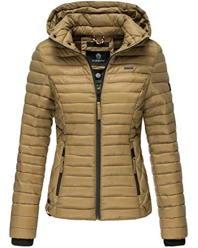 Marikoo Damen Jacke Steppjacke Übergangsjacke mit Kapuze gesteppt B600 [B600-Samt-Cinnamon-Gr.S]