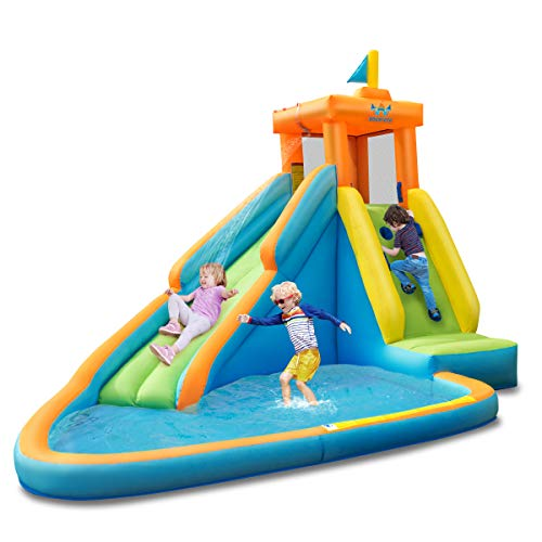BOUNTECH Inflatable Water Slide, Bouncer Pool w/Long Slide, Climbing Wall, Including Oxford Carry Bag, Repairing Kit, Stakes, Hose, Castle Bounce House (Without Blower)
