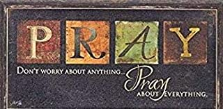 Besti Premium Home Country Inspirational Marla Rae Hanging Wall Art Primitive Americana Decorative Plaque – Rustic Style Décor Sign with Saying – Excellent Quality Polystyrene (Pray)