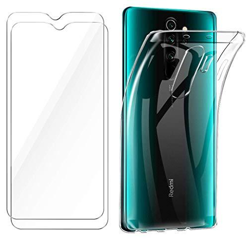 HTDELEC für Xiaomi Redmi Note 8 Pro Hülle +[2 Stück] Panzerglas Schutzfolie,Transparent [Anti-Gelb] Dünn Handyhülle Klare Weiche TPU Silikon Schutzhülle Tasche HD Panzerglasfolie Glas -Transparent