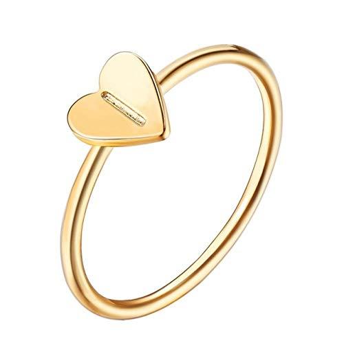 QPRER Damenringe,Ich Muster 26 Brief Verlobungsring Hand Kleine Herzen Einfache Ringe Paar Hochzeit Danksagung Ziemlich Schmuck Romantisch Party Zubehör, 6.