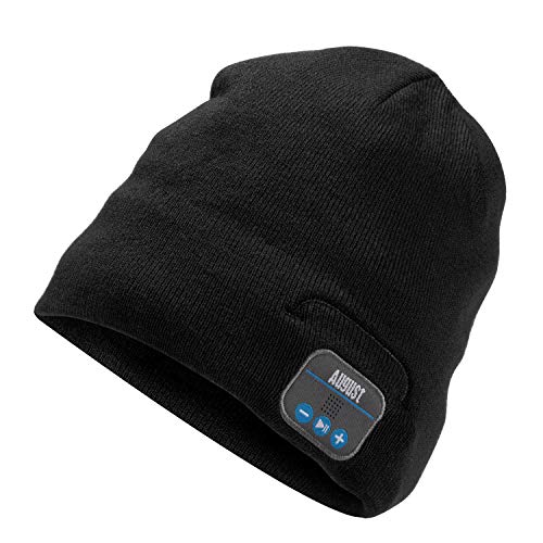 Bluetooth Beanie Hat - August EPA20 - Wireless Bluetooth Winter Hat Earphone with Stereo Speaker Microphone Hands-Free Headphones Beanie Washable Bluetooth Headphone Hat Gift for Men Women [Black]