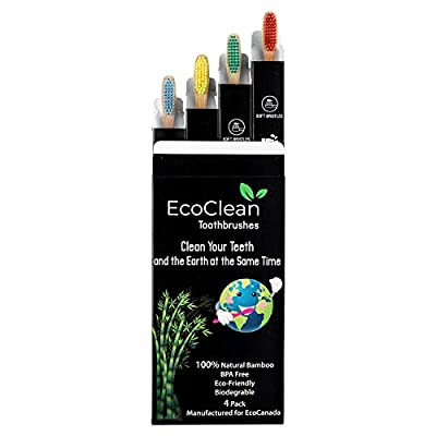 EcoClean Natural Organic Biodegradable Bamboo Toothbrush Eco-Friendly Wood, Ergonomic, Soft BPA Free Bristles, Pack of 4