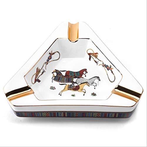 WINON Cenicero Cenicero Cenicero Accesorios Creativo Europeo, Pintados Triángulo de cerámica del Ministerio del Interior de Escritorio Bandeja de Ceniza del cigarro cenicero Coche