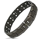 Elegant Men's Double Magnet Wide Titanium Magnetic Therapy Bracelet Pain Relief for Arthritis and Carpal Tunnel (Gunmetal Gray)