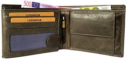 Lundholm leren heren portemonnee heren leer RFID anti skim billfold Uppsala serie legergroen portemonnee pasjeshouder mannen leer zwart groen cadeau voor man verjaardag