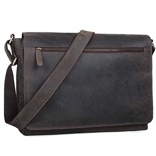 STILORD 'Phil' Vintage Leder Umhängetasche für Herren und Damen Laptoptasche Unitasche Aktentasche Bürotasche Tasche echtes Leder, Farbe:dunkel - braun