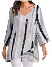 Hunpta @ Damska bluza z bawełny i lnu, z długimi rękawami, luźna, asymetryczna, w paski, oversize