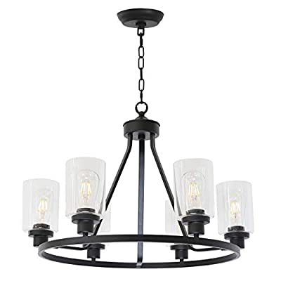 MELUCEE Black Chandelier 8 Lights, Kitchen Island Lighting Industrial Chandelier with Clear Glass Shade, Farmhouse Pendant Light for Dining Room Living Room Bedroom