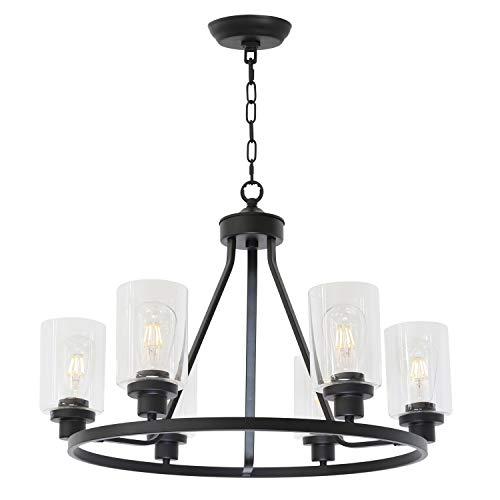 MELUCEE 6-Light Chandeliers for Dining Room, Farmhouse Lighting Black Light Fixtures Ceiling Hanging Industrial Pendant Light for Kitchen Island Bedroom Living Room