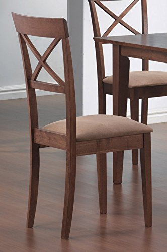 - Coaster Dining Chairs, Cross-Back Design, Walnut Finish, Set of 2