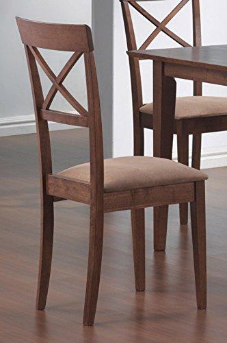- Coaster Dining Chairs, Cross-Back Design, Walnut Finish, Set of 2