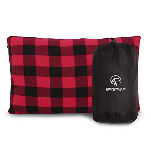 REDCAMP Small Flannel Camping Pillow with Removable Cover 50x30cm, Lightweight Compact Portable Micro Washable Travel Pillow for Outdoor Hiking Backpacking, Red and Black