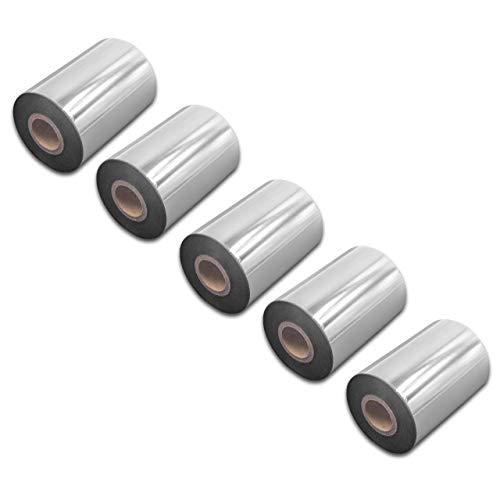 vhbw 5X wischfest Thermotransfer-Band schwarz 90mm 300m passend für Drucker Etikettendrucker Printronix T4M, T5204, T5206, T5208, T5306, T5308