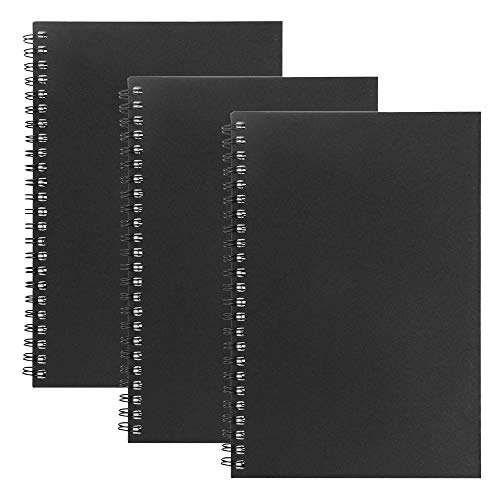 3 Packs Soft Cover Spiral Notebook Student Small Study Book Spiral Notebook Office Simple Working Book Diary Notebook,Spiral Bound Notebook with Lined Paper A5 Steno Notepad (Black)