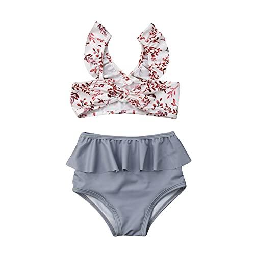 Carolilly Bade Bikini Mädchen Zweiteiler Bikini Kinder Badeanzug Mädchen Zweiteiliger Bademode Mädchen Schwimmanzug Kinder Bikini (Blumen, 12-18 Monate, 12_Months)