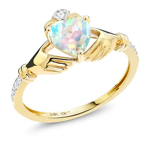 Gem Stone King 10K Yellow Gold Irish Celtic Claddagh White Simulated Opal and Diamond Accent Women Ring (0.81 Cttw, Available in size 5, 6, 7, 8, 9)