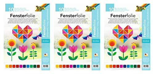 folia 455409 - Fensterfolie, selbsthaftend, transparent, farbig Sortiert, ca. 23 x 33cm, 10 Blatt - ideal zur Gestaltung von Fensterbildern (3)