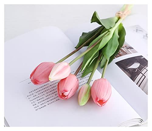 WANGJBH Dried Flowers Bouquet de Tulipes de Luxe en Silicone au Toucher réel, Fleurs artificielles décoratives pour Salon Potpourri (Couleur : Pink)