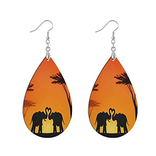 Wood Jewelry Pendientes colgantes de madera con forma de lágrima de elefante indio para mujeres y niñas pintados