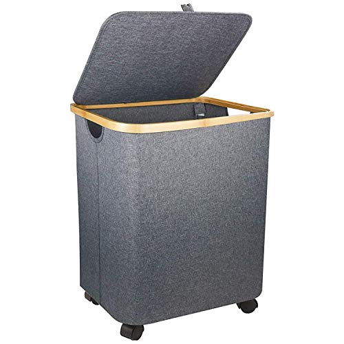 Laundry Baskets with Wheels Grey 79L Capacity Laundry Hamper with Lid - 197in Tall Clothes Hamper with Wheels for Bathroom Living room Bedroom