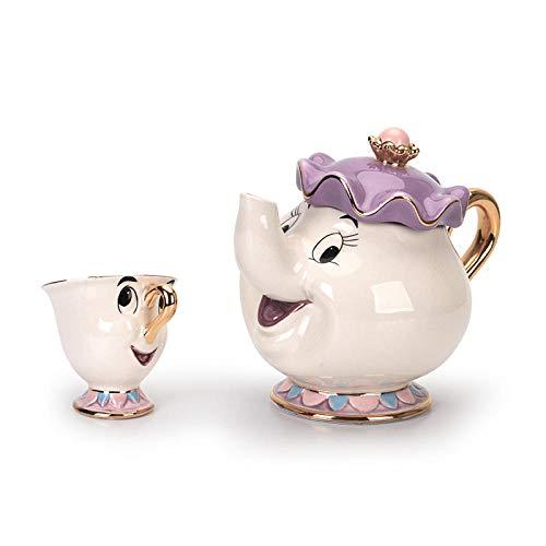 PULUKESns Nueva Taza De Tetera De La Bella Y La Bestia De Dibujos Animados De Estilo Blanco/Azul Sra. Potts Chip Tea Pot Cup One Set Lovely For Friend-_1_White_Cup_and_1Pot