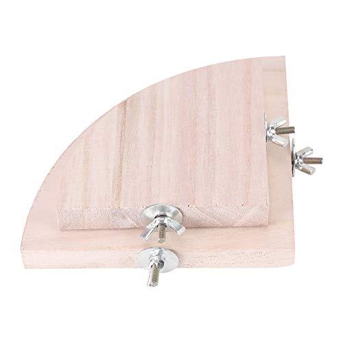 Parrot Hamster Stand Platform, 2Pcs Forma de abanico de madera Jaula de pájaros Perchas Plataforma Jaula Accesorios Juguetes de ejercicio para Chinchillas de loro Hamster