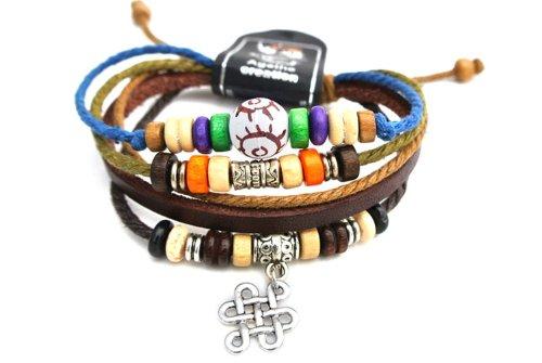 Agathe Creation – Pulsera tibetana de la buena suerte, piel, cáñamo y perlas de madera y metal – Colgante con nudo del infinito en plata tibetana – Multicolor – Tamaño estándar – Hecho a mano