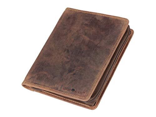 Schreibmappe A5 Leder braun mit Reißverschluss Handwerkermappe Notizmappe (antik Look) inkl. Briefblock