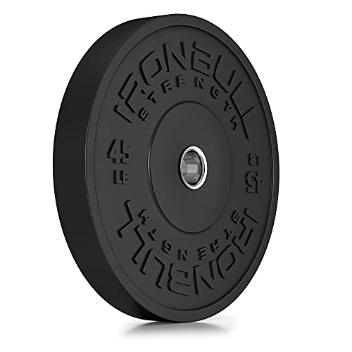 """HD Bumper Plates 2"""" (Single) - One (1) 45 LB Single Rubber Weight Plate in Pounds (LB) for Olympic Barbells - Ideal for Cross-Training, Weightlifting, Fitness and Gym Weights (45lb (Single Plate))"""