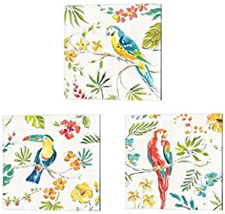 Tropical Oasis White by Daphne Brissonnet, 3 Piece Canvas Art Set, 10 X 10 Inches Each, Tropical Bird Art