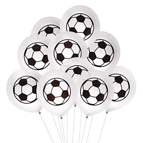 Oblique Unique® 10 Fußball Luftballons für Kinder Geburtstag WM Weltmeisterschaft Party Deko Ballons Spielen Schwarz Weiß