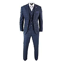 Mens 3 Piece Tailored Fit Check Suit Grey Navy Blue Smart Formal Classic Vintage Retro