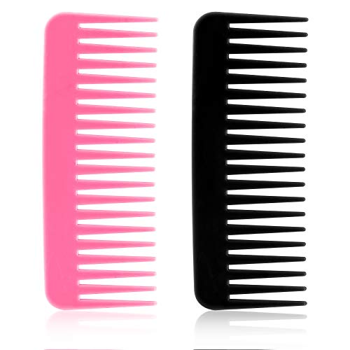 OIIKI 2PCS Large Hair Detangling Comb, Wide Tooth Comb Detangling Hair Brush, Long Hair Detangler Comb without Handle, for Wet, Dry, Curly, Women & Kids Hair (2 Colors)