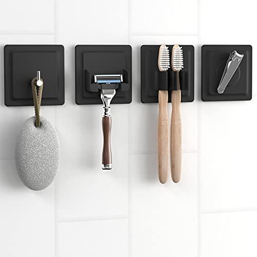 LOBUX® - 4in1 Badezimmer Halter Set selbstklebend [Soft-Touch Silikon], superfester Halt - Bad Organizer enthält: Rasierhalter, Zahnbürstenhalter, Haken, Neodym Magnet (schwarz)