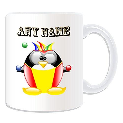 UNIGIFT gepersonaliseerd cadeau - Clown mok (Penguin in kostuum ontwerp thema, wit) - elke naam/boodschap op uw unieke - Joker ballen