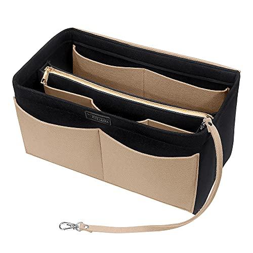 Ropch Handtaschen Organizer, Filz Taschenorganizer Bag in Bag Innentaschen Handtaschenordner mit Abnehmbare Reißverschluss-Tasche und Schlüsselkette, Schwarz und Beige - M