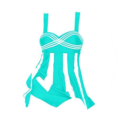 Yng 2019 Women Skirt Tankini Swimsuit Two Piece Retro Black Bathing Suit Large Size,Sky Blue,M