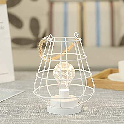 """JHY DESIGN Decorative Cage Bulb Lamp Battery Powered Lights 8.5"""" Tall Cordless Accent Light with Edsion Style Bulb Great for Weddings Parties Patio Events for Indoors Outdoors(White)"""