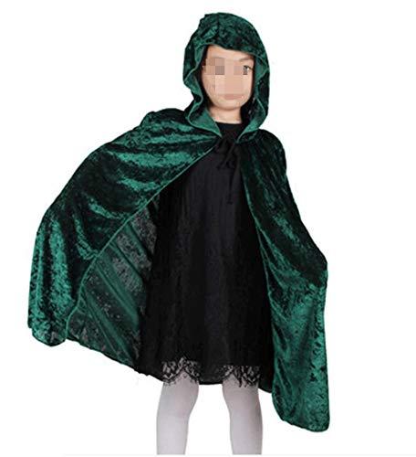 Fashion SHOP Capucha Red Black Hood Girl Boy Death Cloak Magician Witch Wizard Capa Cabo Toma Infantil Disfraz de Halloween para niños Niños Largo Capa con Capucha ( Color : Green )