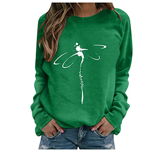 SHOBDW Mujer Sudadera 2021 Nuevo Pullover Suéter Libélula Estampada Cuello O Estilo Deportivo Chaqueta Sweatshirt Adolescentes Otoño Invierno Liquidación Venta(Verde,XXL)