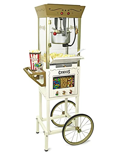 Nostalgia Vintage 8 Ounce Professional Popcorn Cart Makes Up to 32 Cups, Three Storage Candy & Kernel Dispenser Also for Nuts, Chocolate, Measuring Spoons and Scoop Included, Ivory